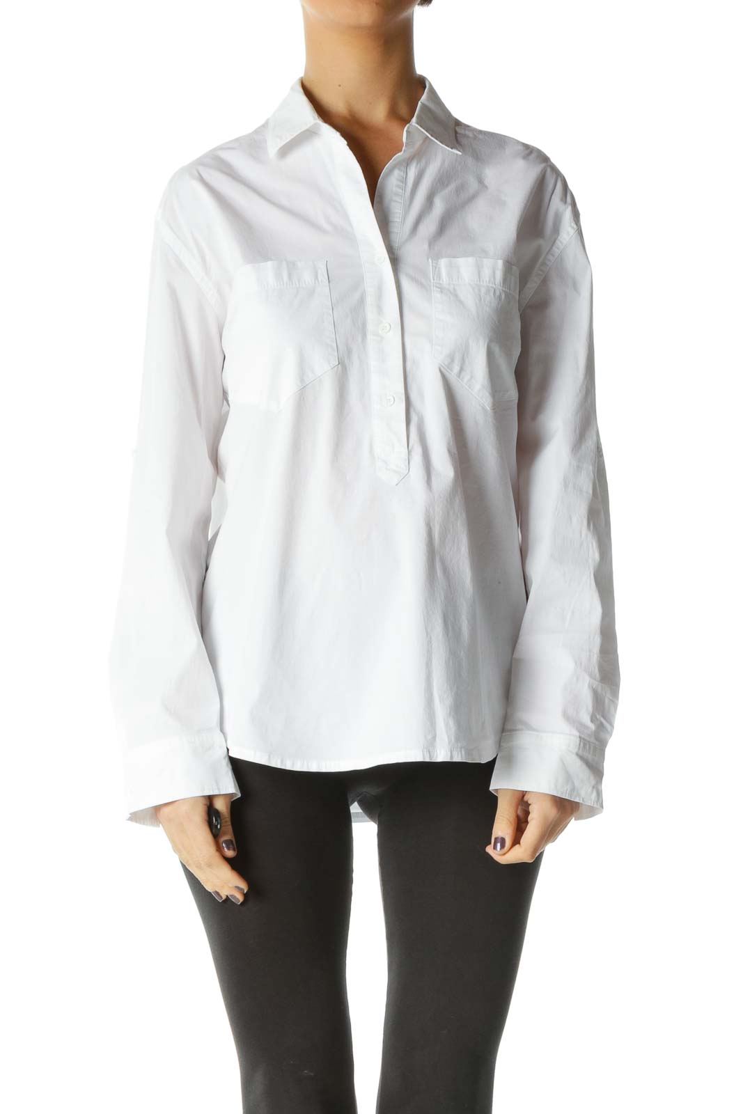 White Solid Collared Top Front