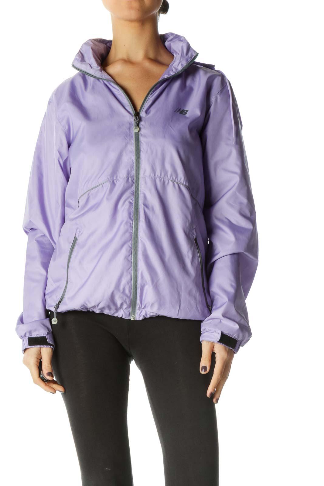 Purple Long Sleeve Windbreaker Jacket Front