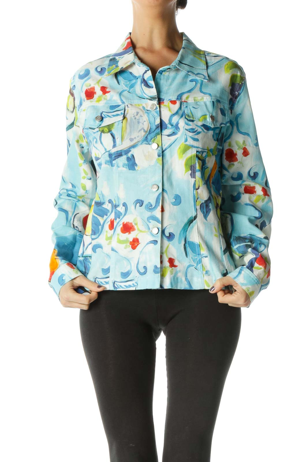 Blue Long Sleeve Jacket Front