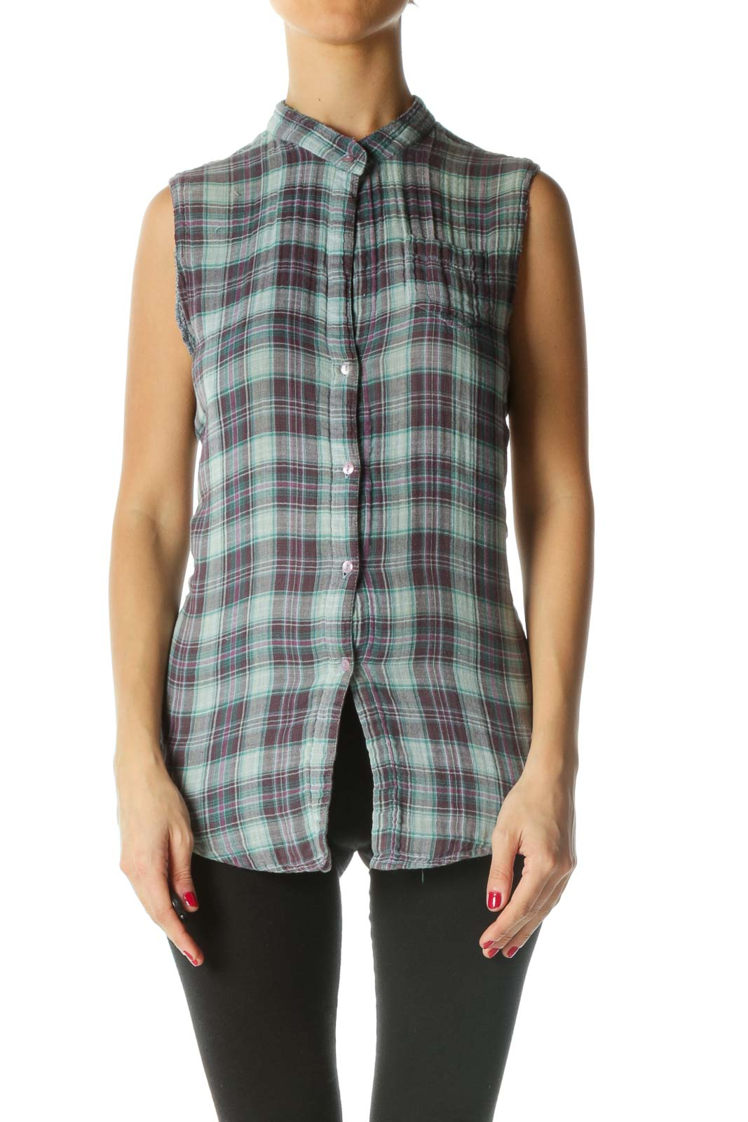Blue White Purple Plaid Knit Sleeveless Top Front