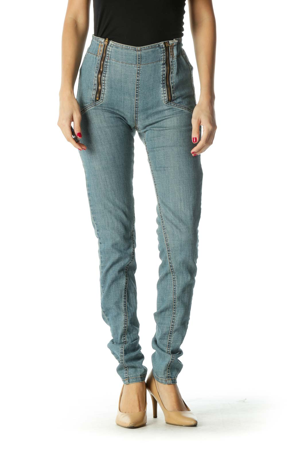 Blue Zippered Elastic Scrunch-Waist Denim Pants Front