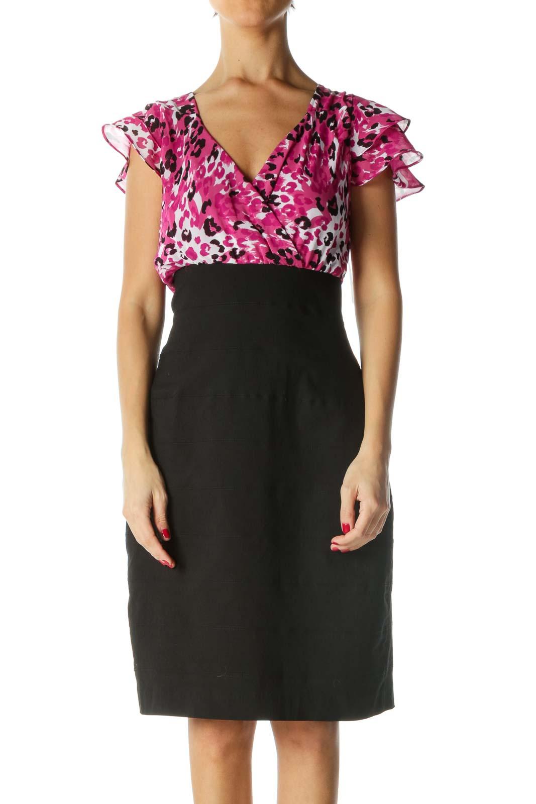 Black Pink White V-Neck Cocktail Dress Front