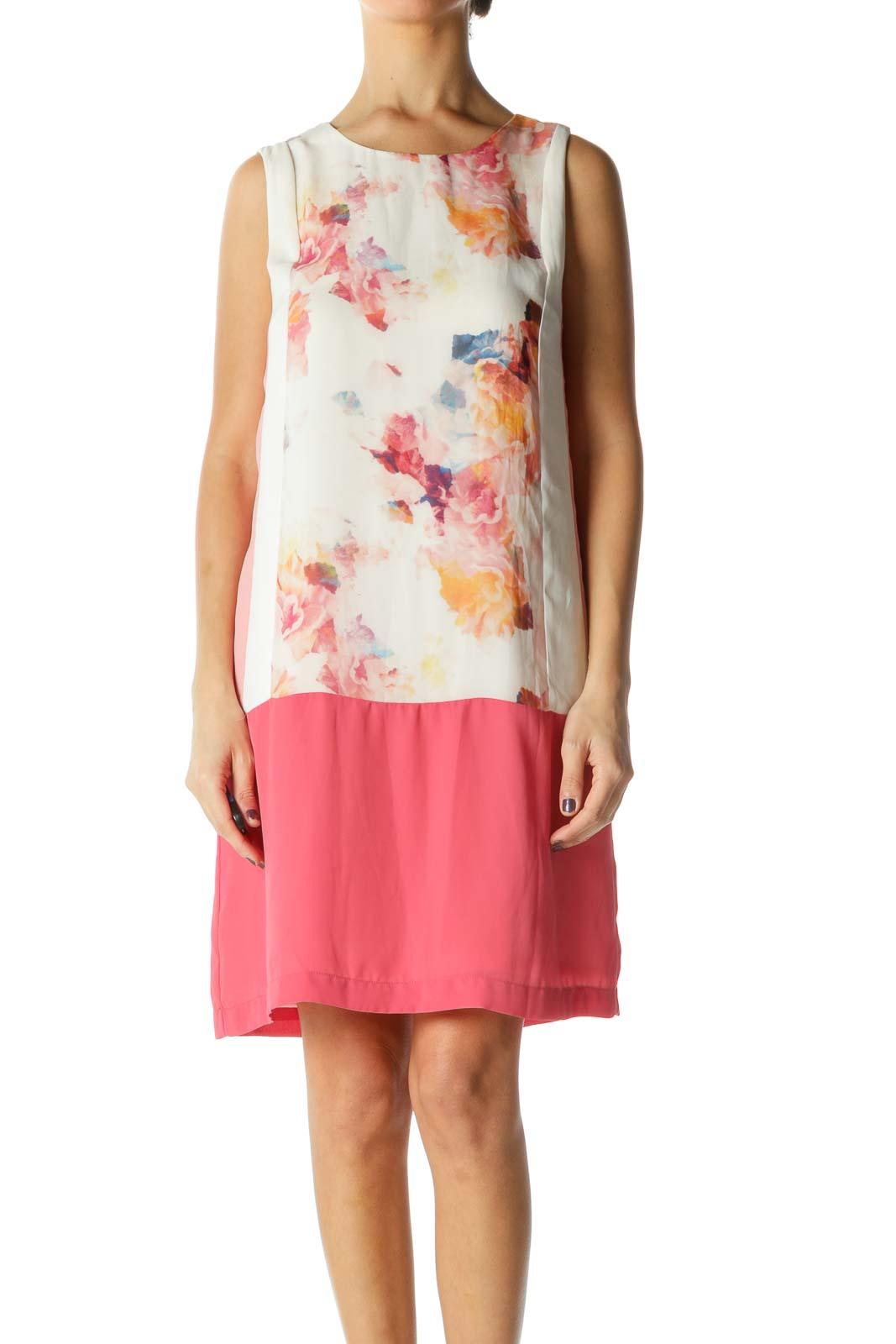 Pink Floral Crewneck Shift Dress Front