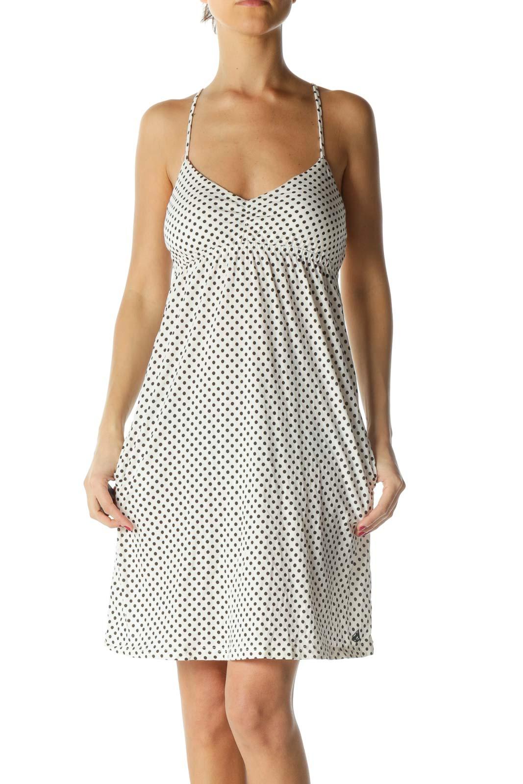 Black and White Polka-Dot Dress Front