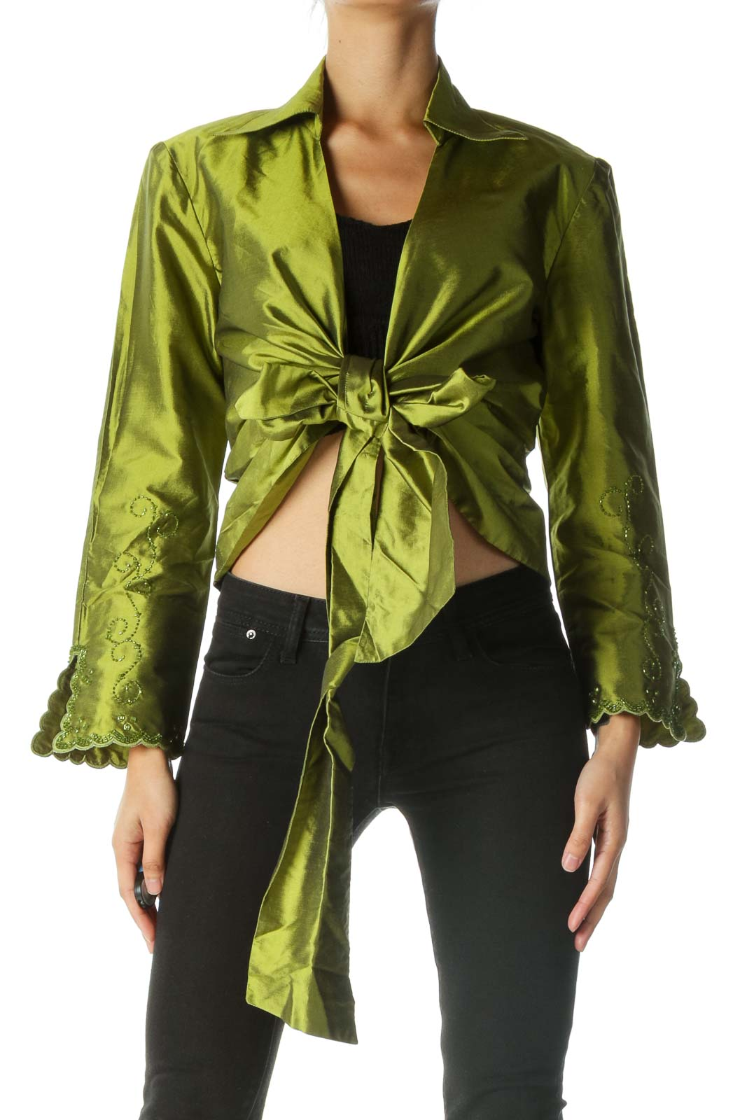 Green 100% Thai Silk Wrap Beaded Top Front