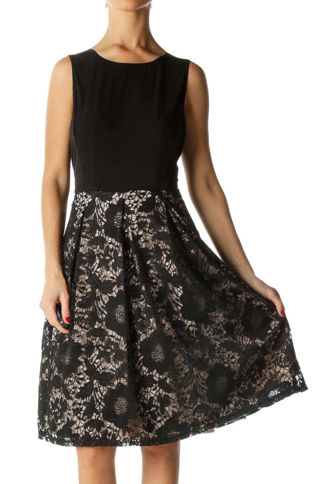 Beige and Black Lace Skirt Dress Front