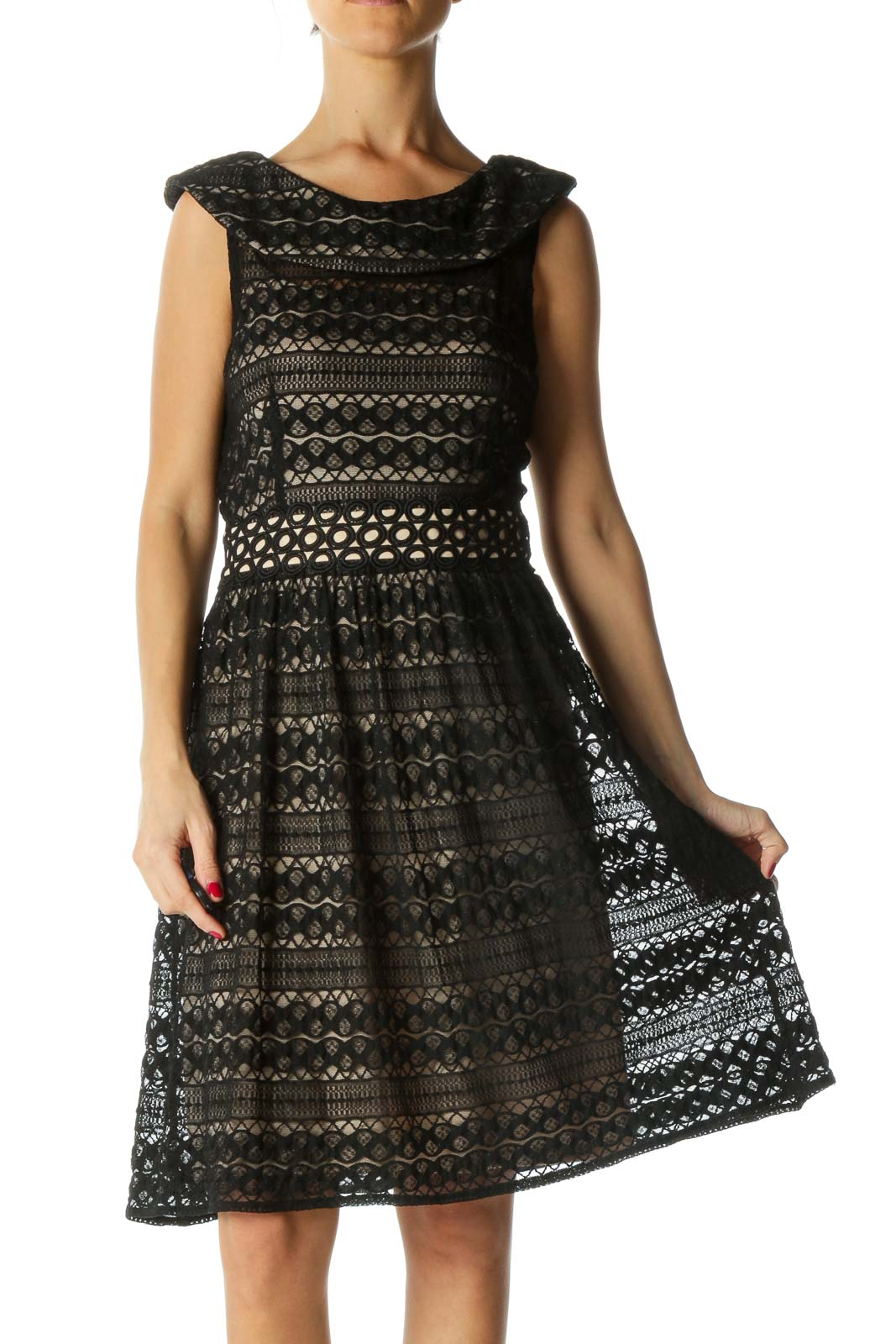 Beige and Black Lace Dress Front