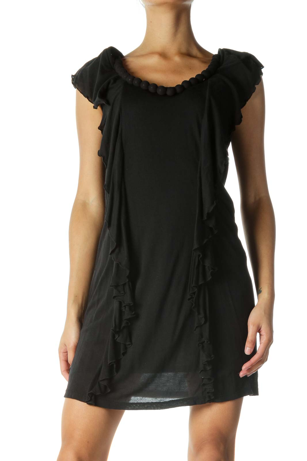 Black Flowy Dress with Bead Detail Front