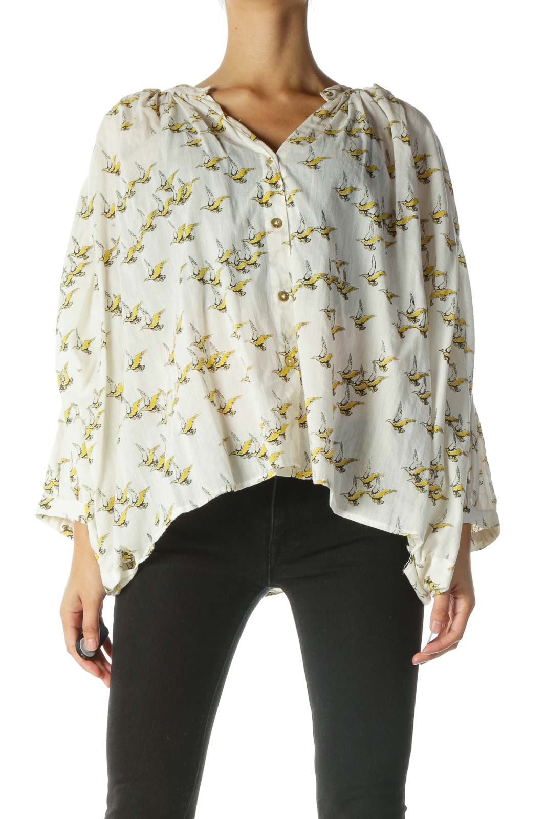 Cream and Yellow Bird Print Shirt with Bat-Sleeves Front