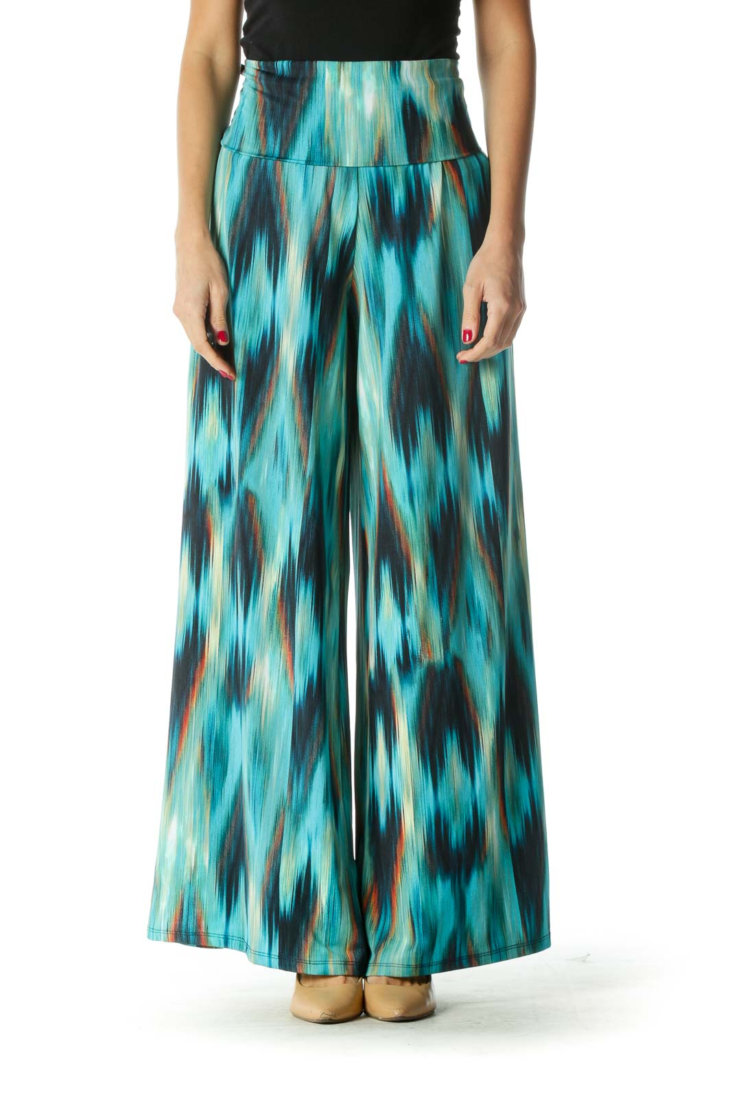 Blue and Green Multicolor Print Wide-Leg Pants Front
