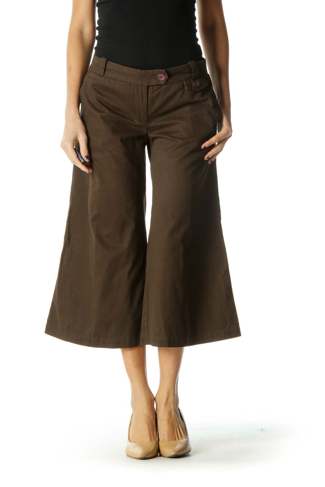 Brown Retro Wide Leg Jeans Front