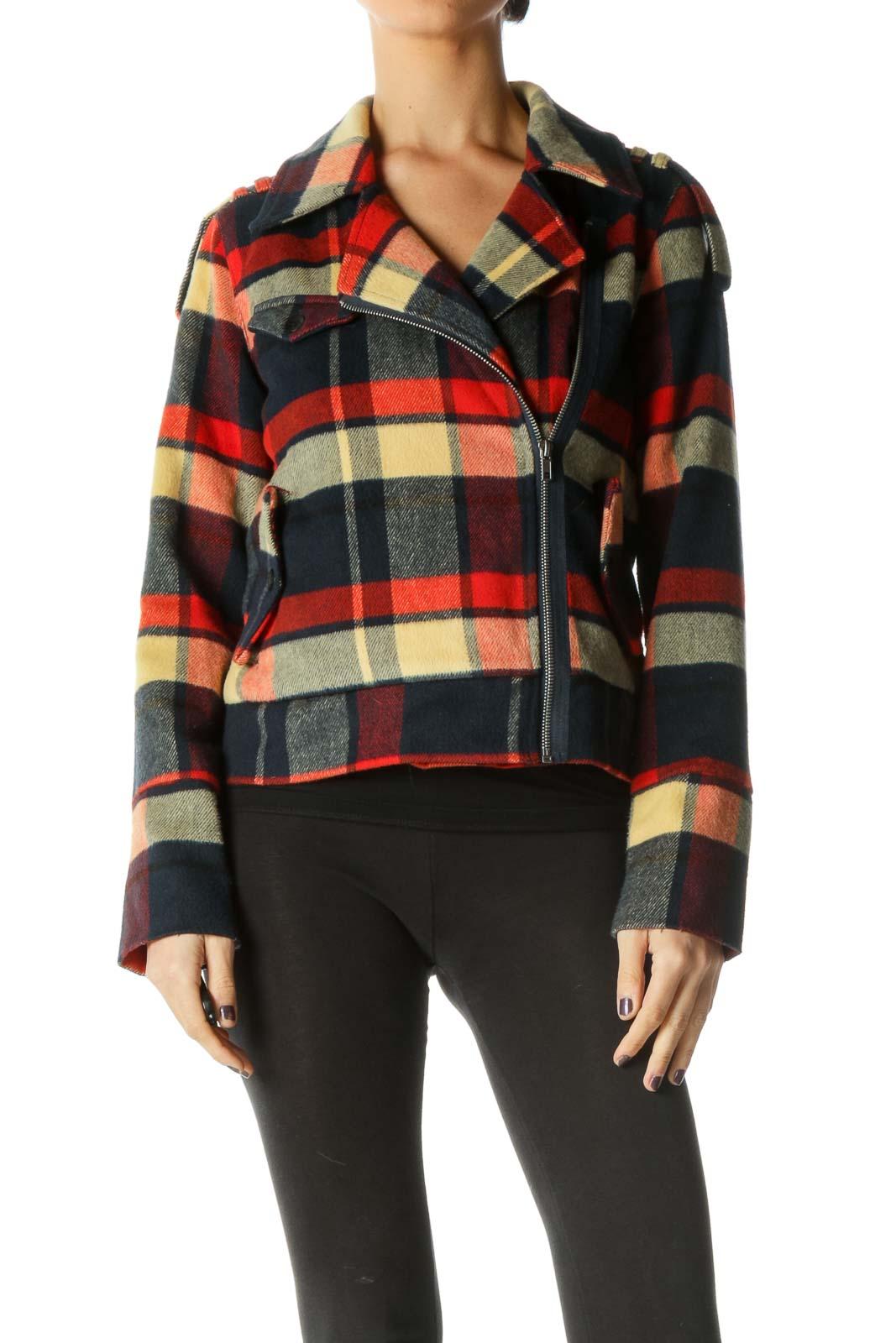 Black Long Sleeve Peacoat Coat Front