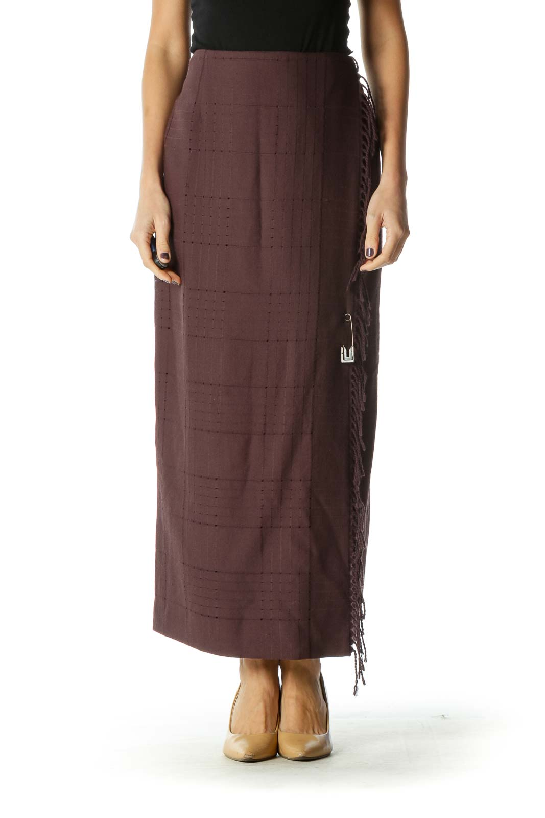 Brown Casual Straight Skirts Front