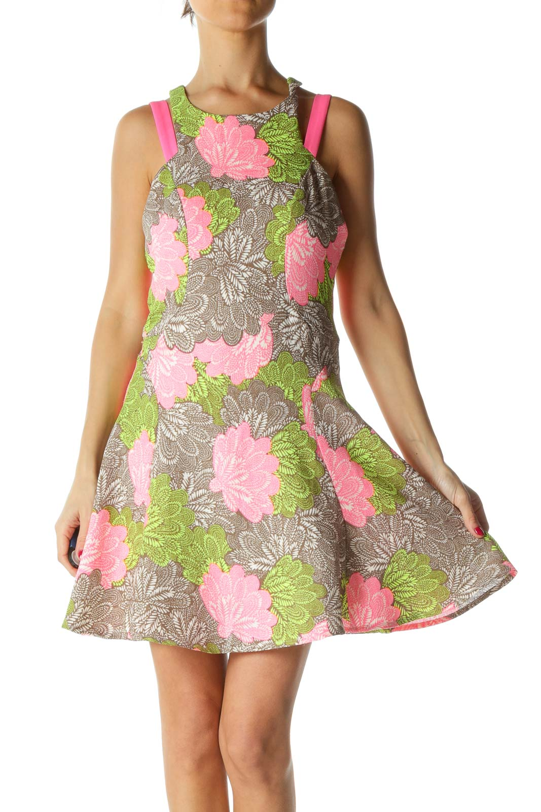 Pink Brown Flower Print Dress Front