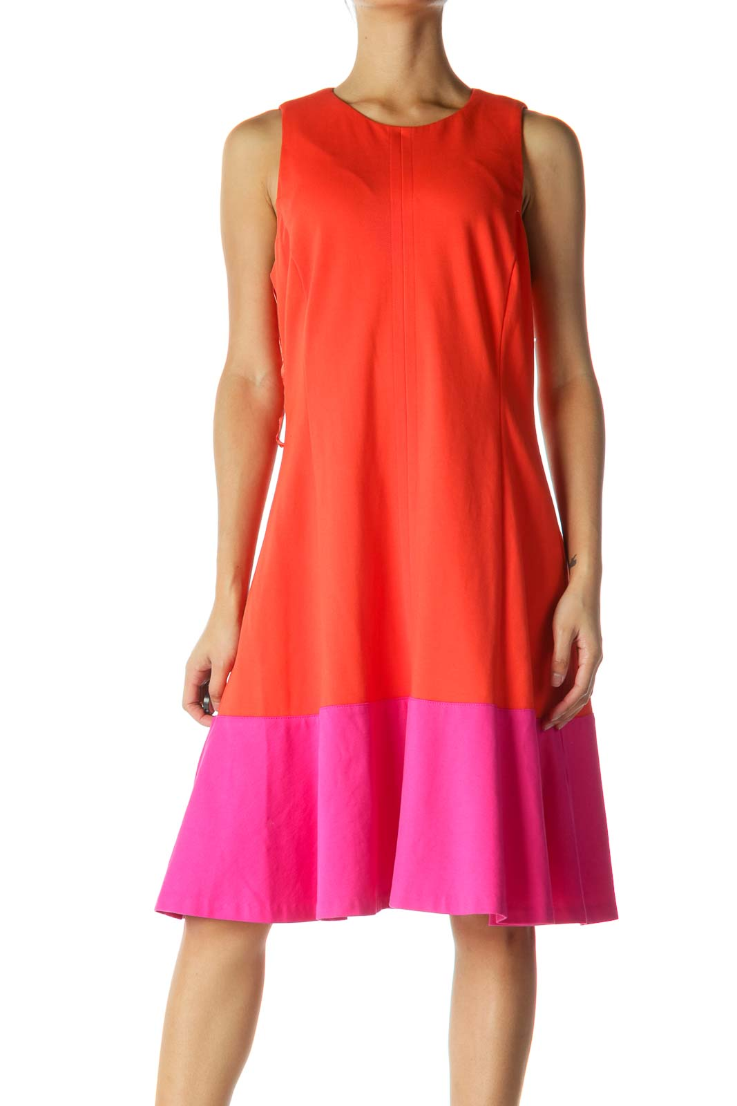 Orange and Pink Color Block Shift Dress Front