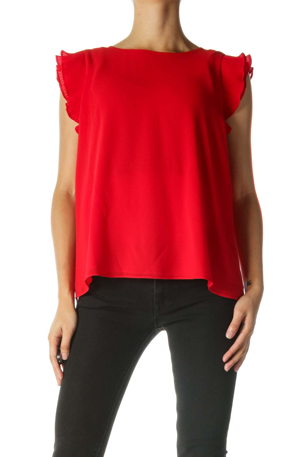 Red Blouse with Ruffled Sleeves Front