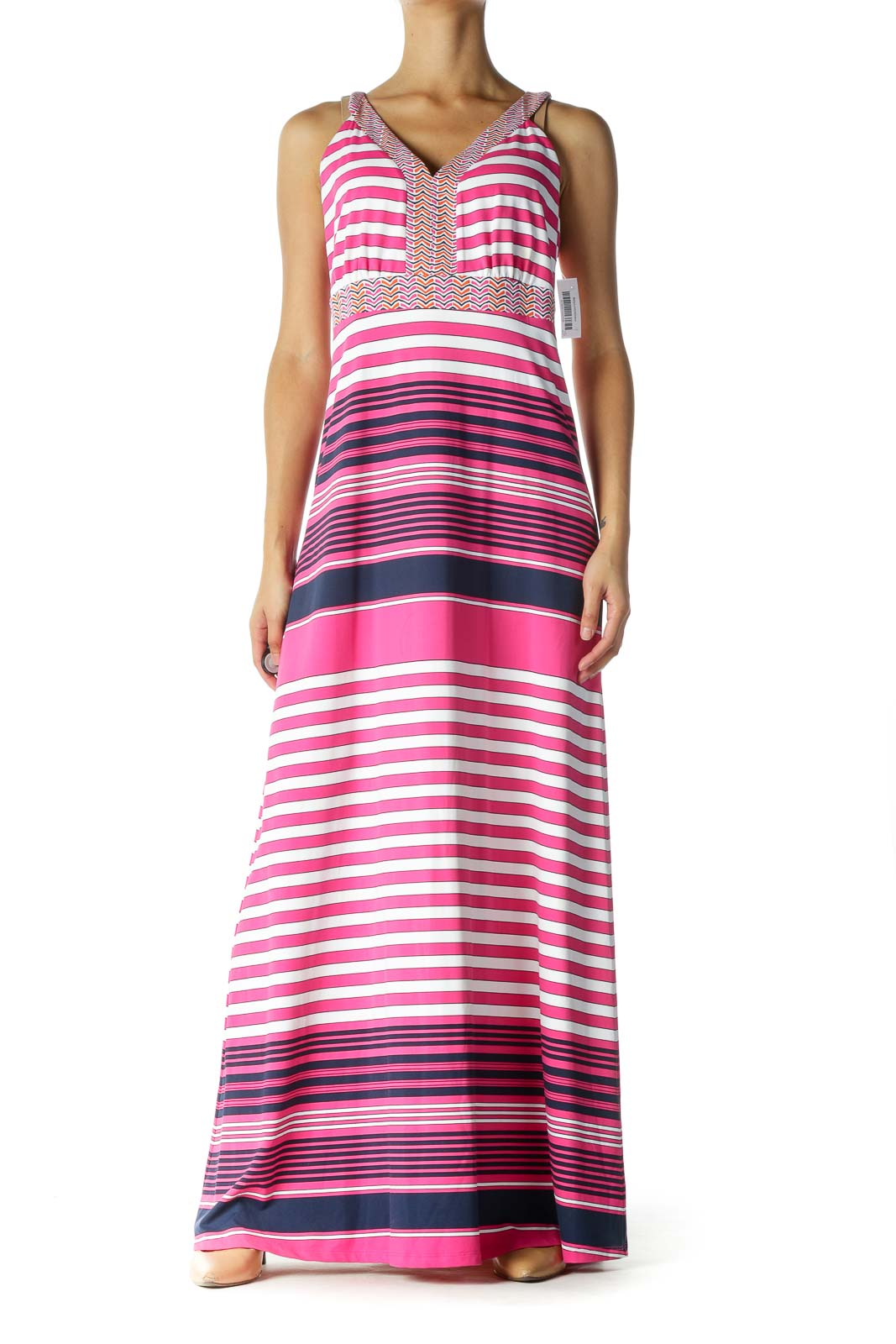 Pink and Navy Multicolor Striped Maxi Dress Front