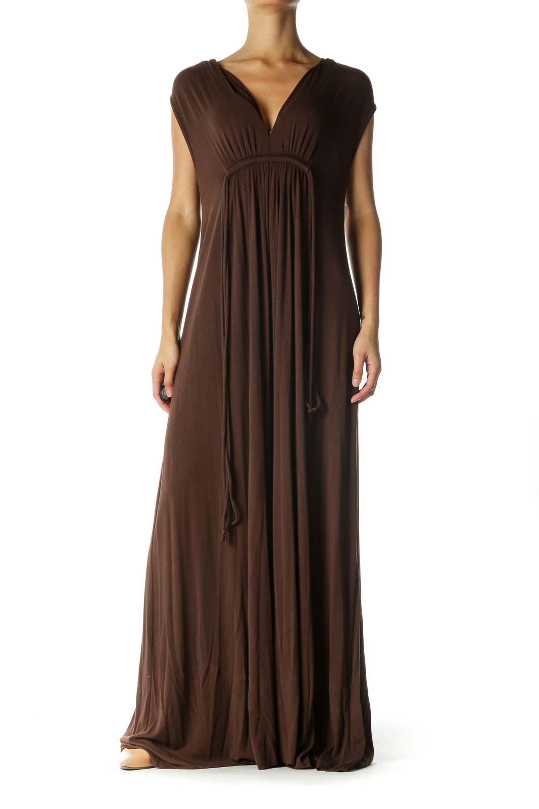 Brown Sleeveless Maxi Dress Front