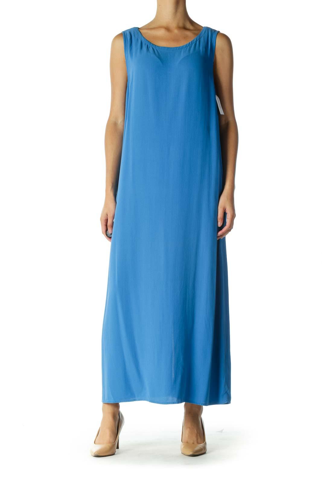 Blue Sleeveless Maxi Dress Front