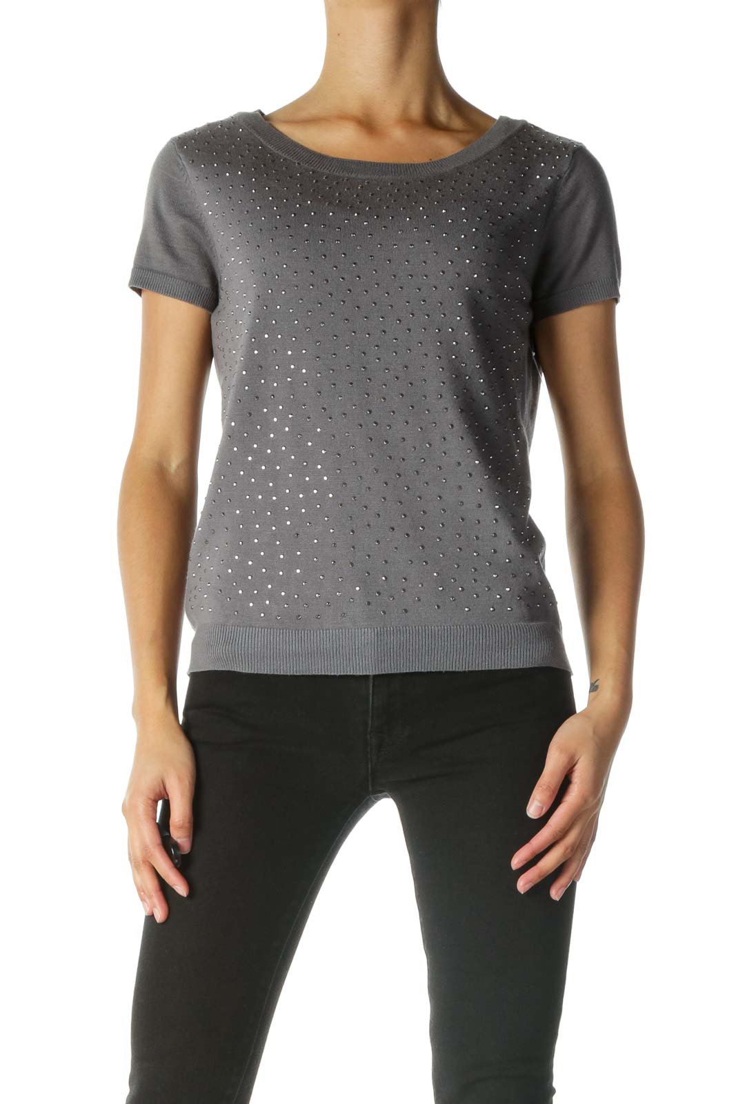 Gray Studded Short Sleeve Knit Top Front