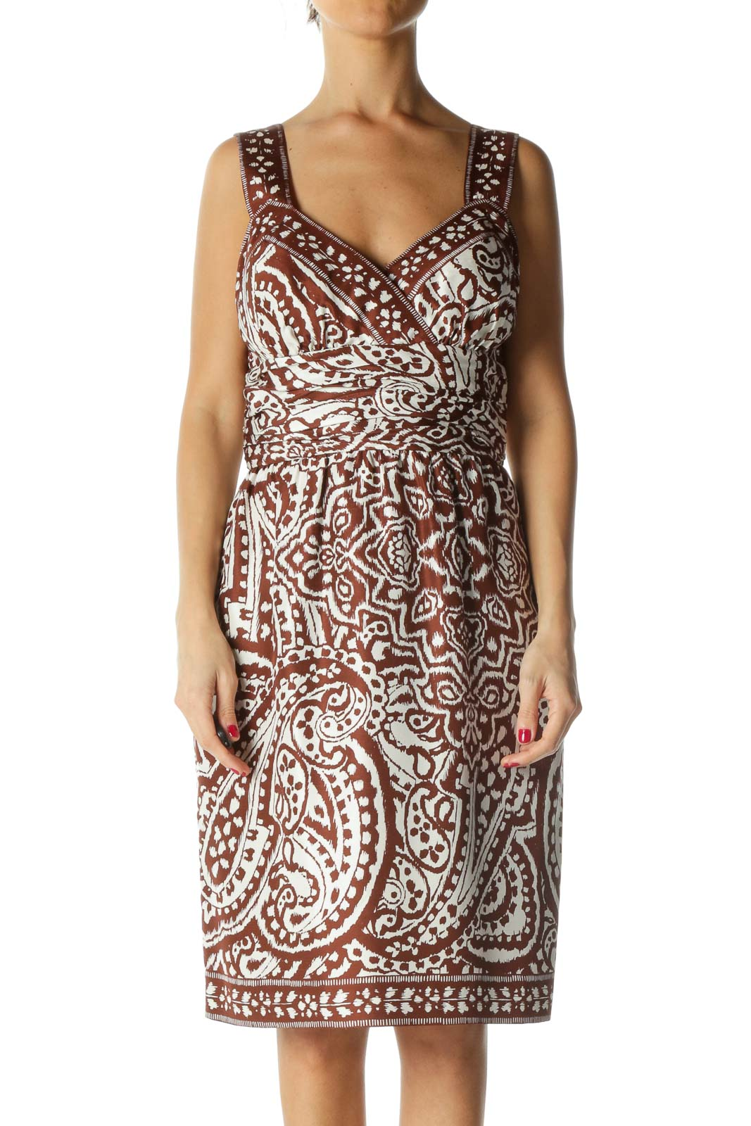 Brown Print Day Dress Front