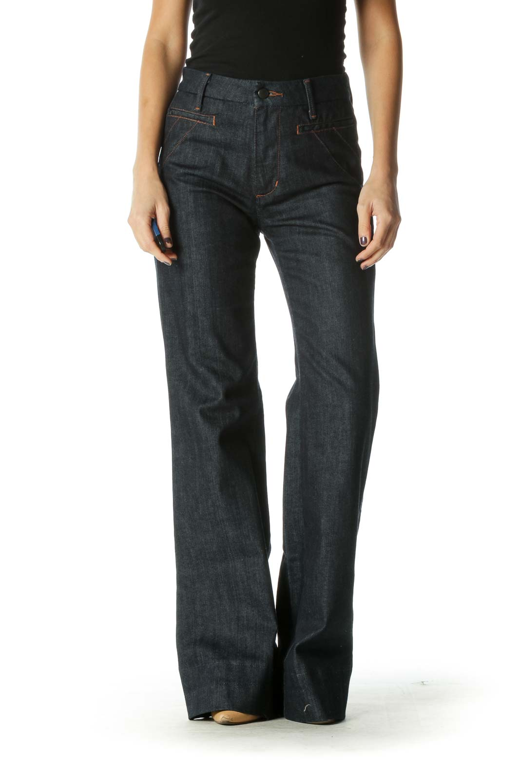 Blue Casual Trouser Pant Front