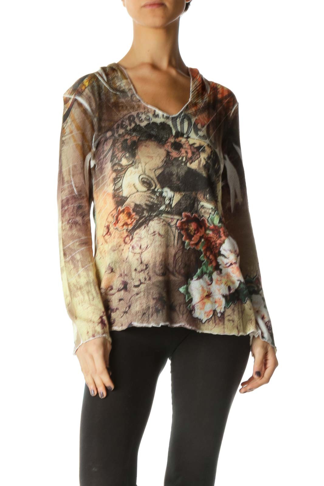 Brown Long Sleeve V Neck Casual T-Shirt Front