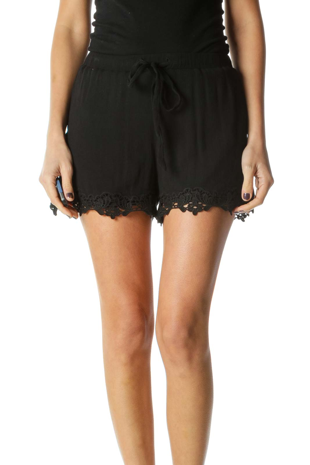 Black Solid Casual Shorts Front