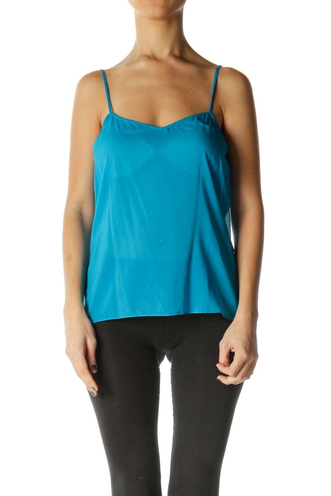 Blue Solid Sweetheart Neck Brunch Tank Top Front