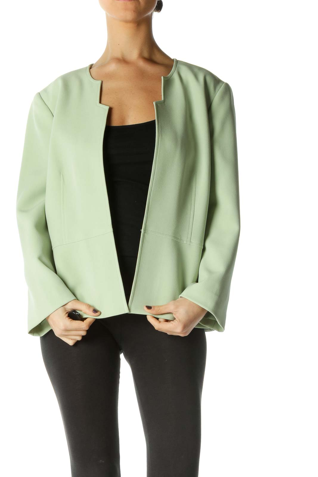 Green Solid Long Sleeve Cardigan Front