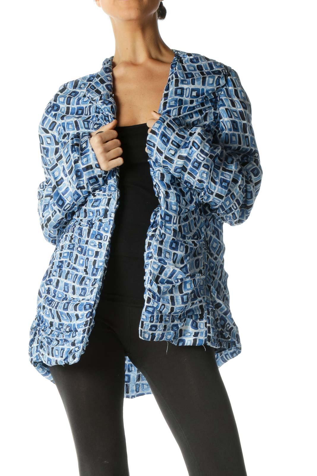 Blue Long Sleeve Blazer Front