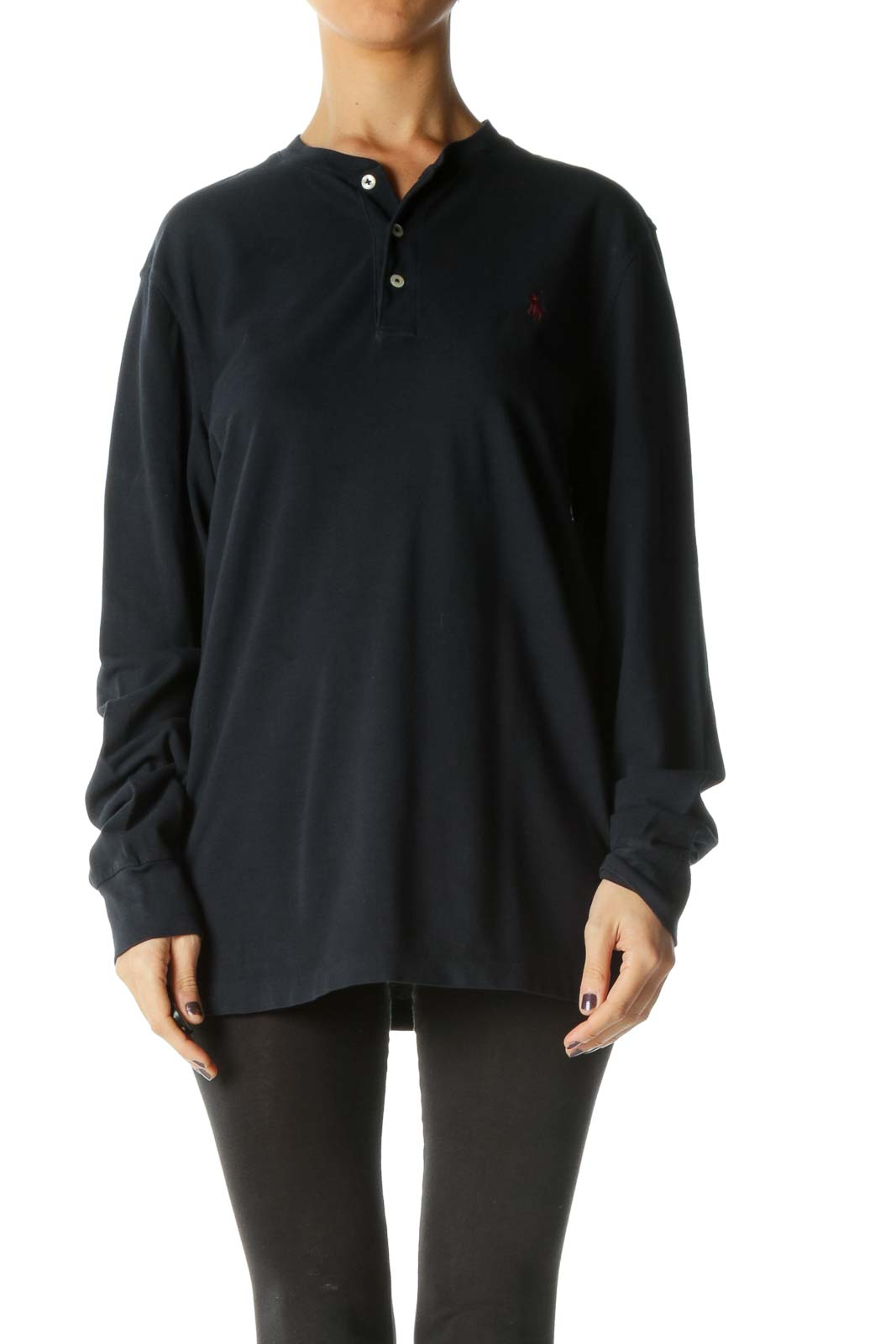 Black Solid Collared Retro Blouse Front