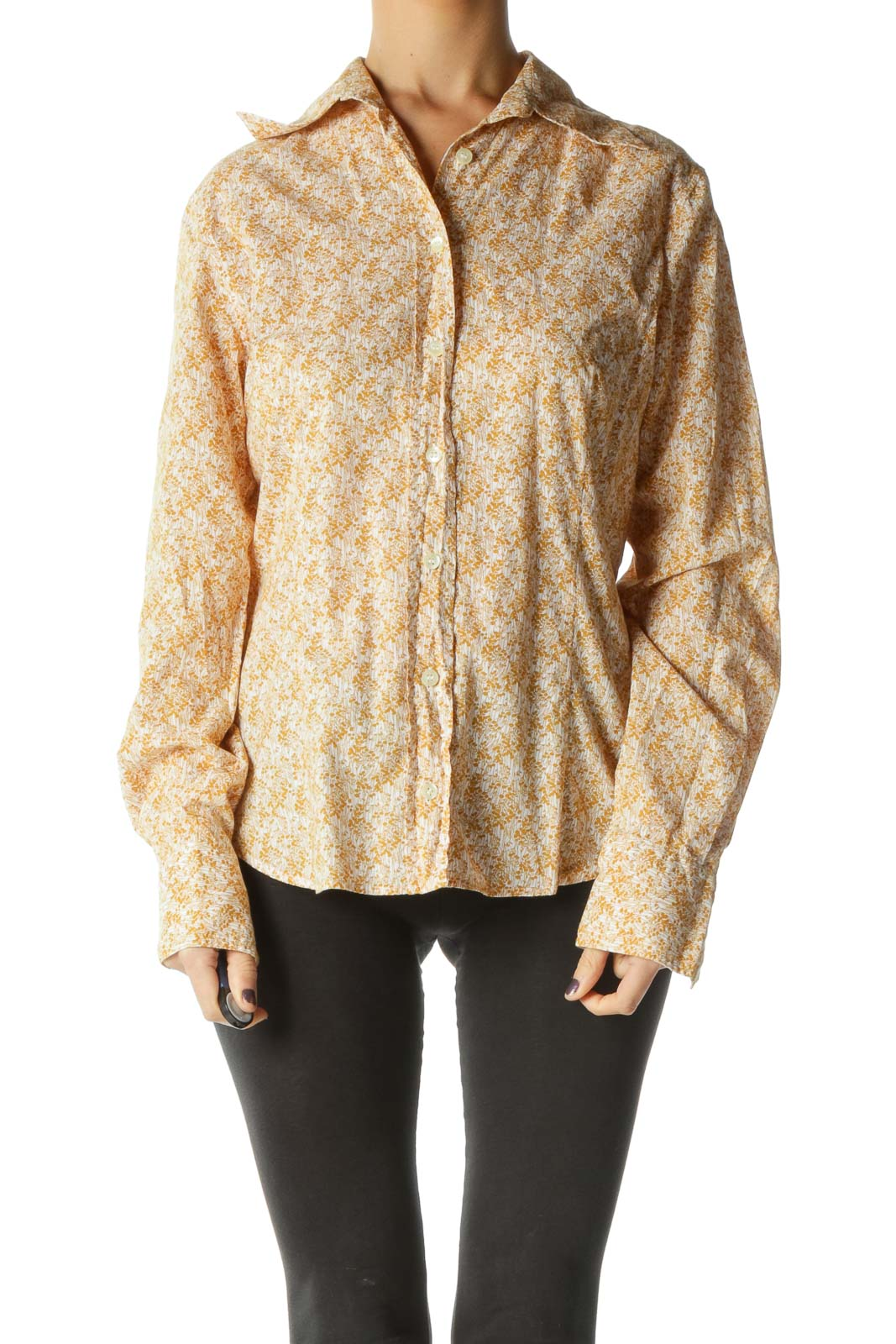 Yellow Floral Long Sleeve Top Front