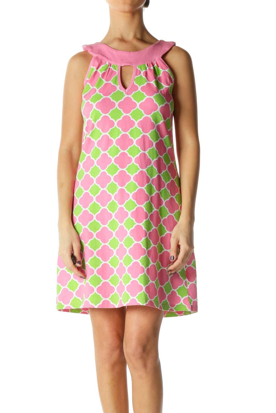 Pink Boatneck Shift Dress Front