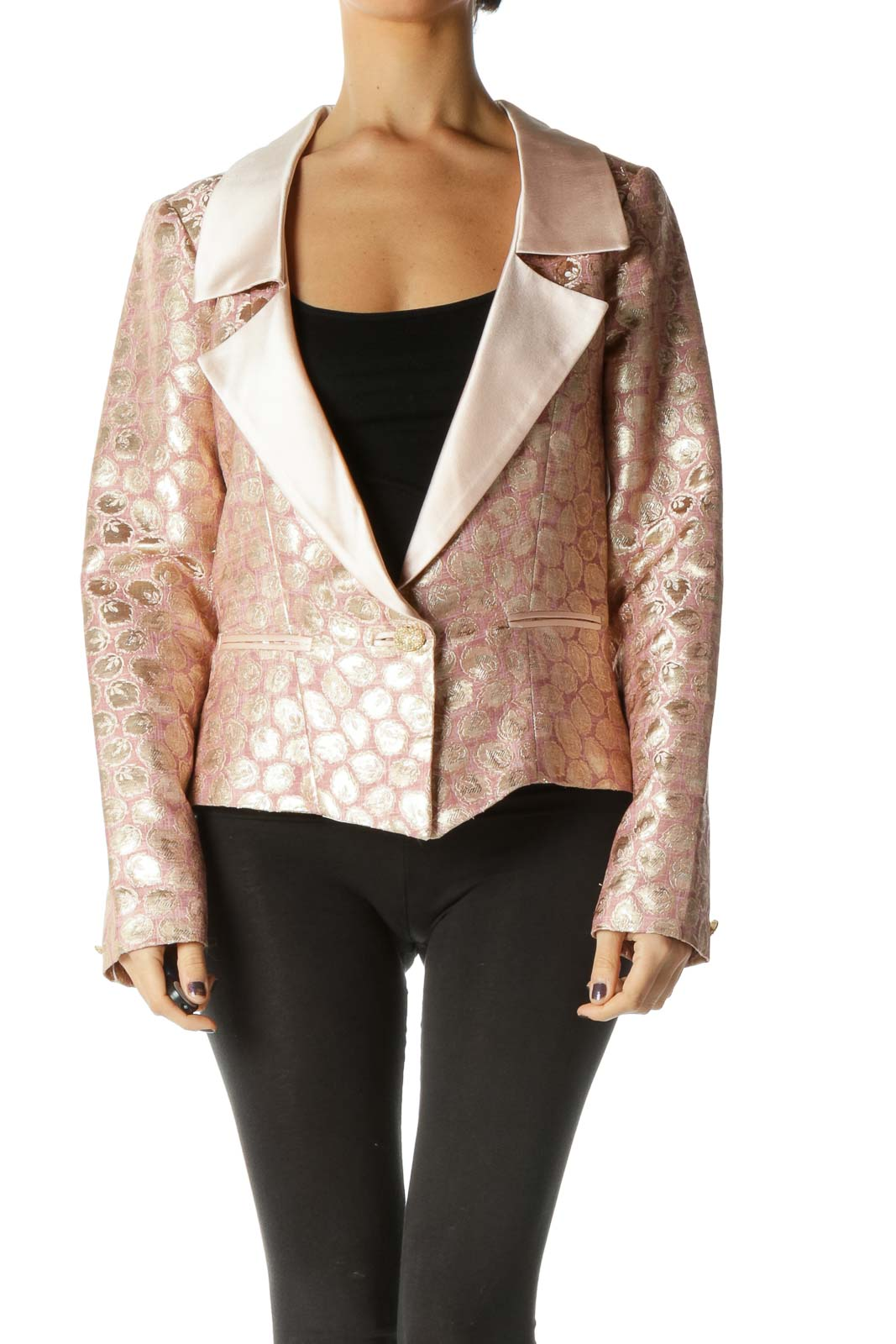 Pink Long Sleeve Blazer Front