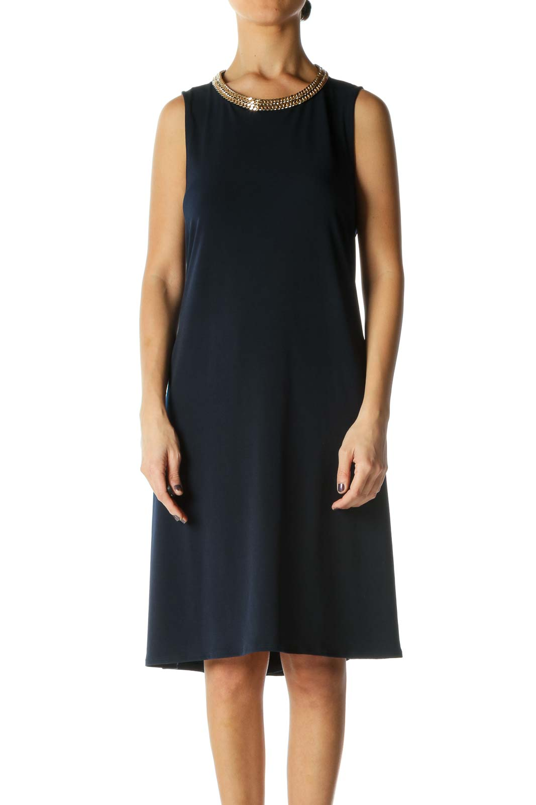 Blue Solid Crewneck A-Line Dress Front