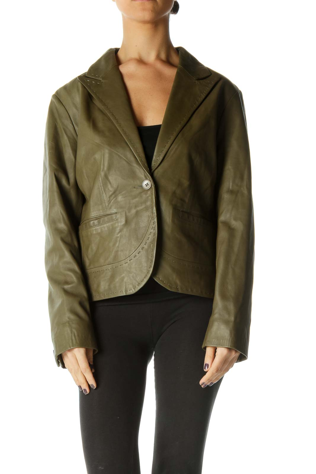 Green Long Sleeve Military Jacket Front