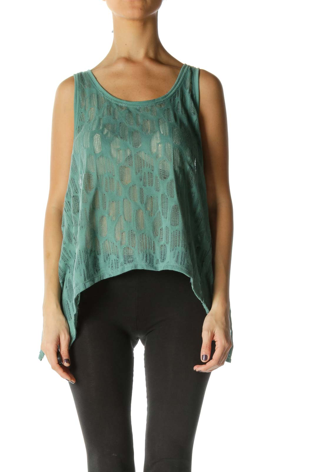 Green Solid Scoop Neck Casual Blouse Front