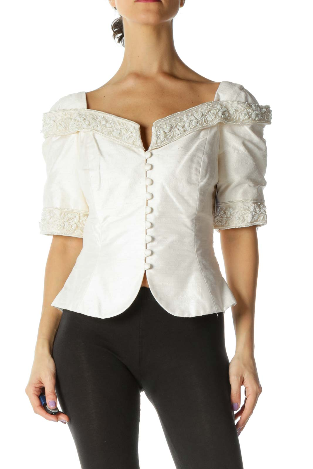 White Solid Vintage Top Front