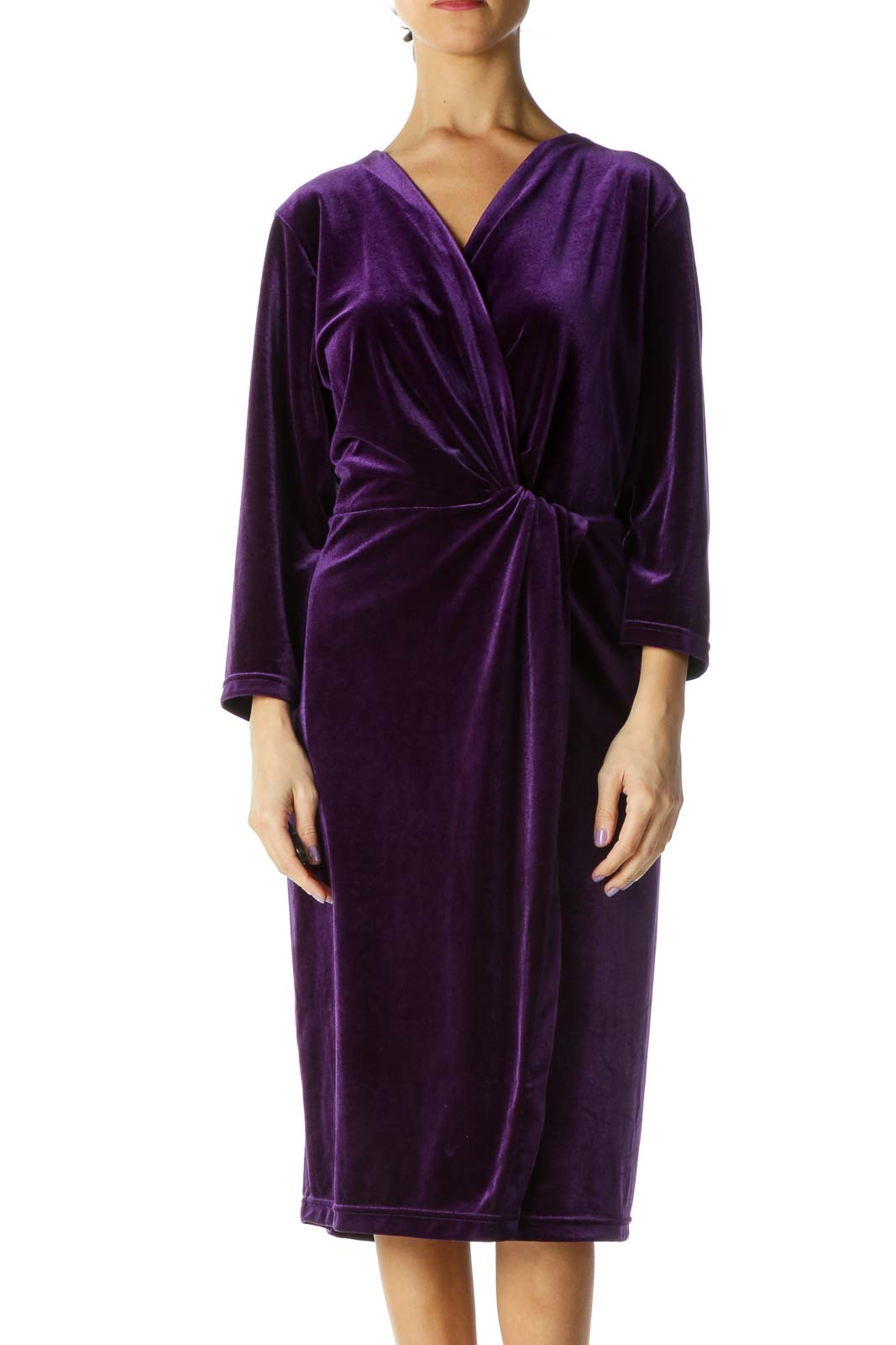 Purple Velvet Side Slit Dress Front