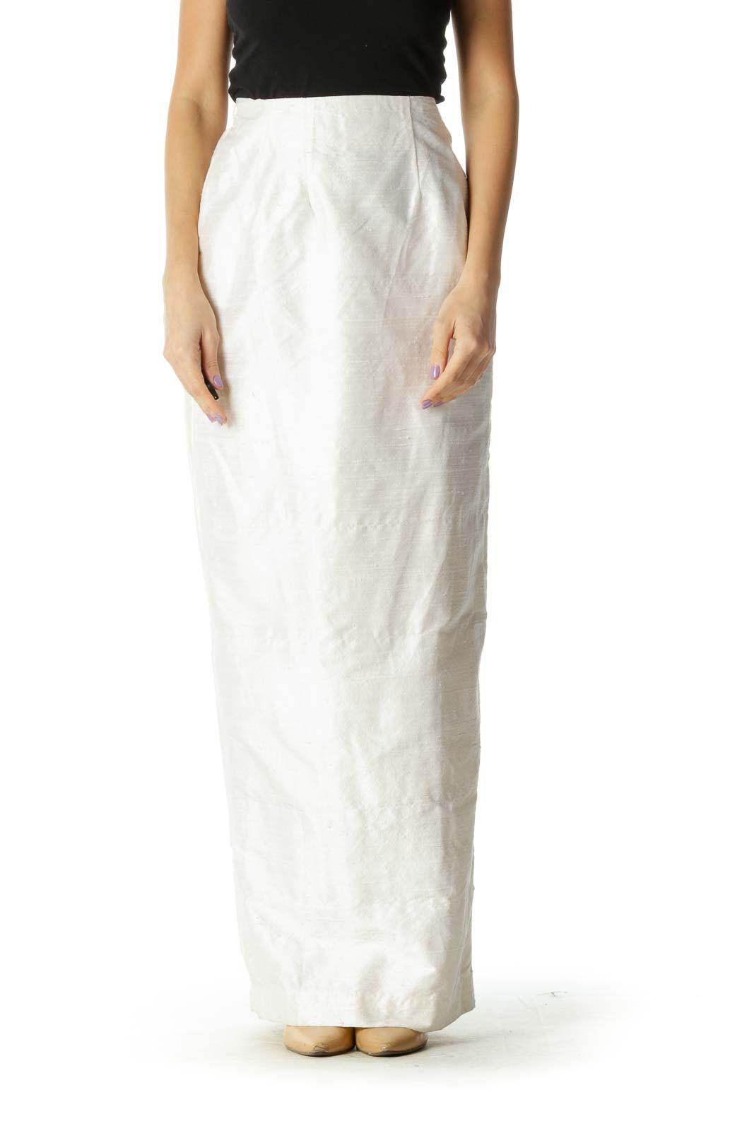 White Solid Brunch Straight Skirt Front