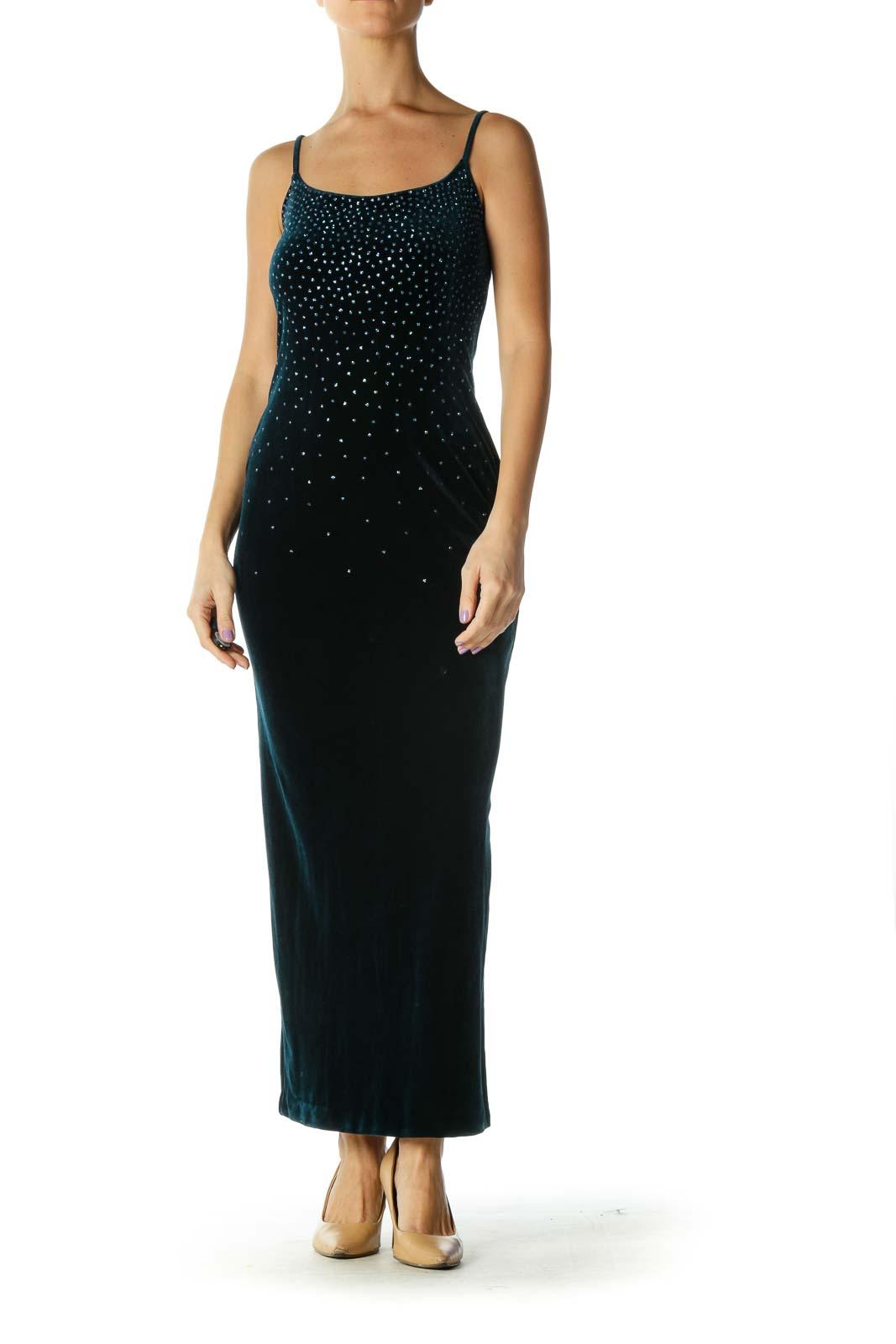 Black Sequin Chic Column Dress Front