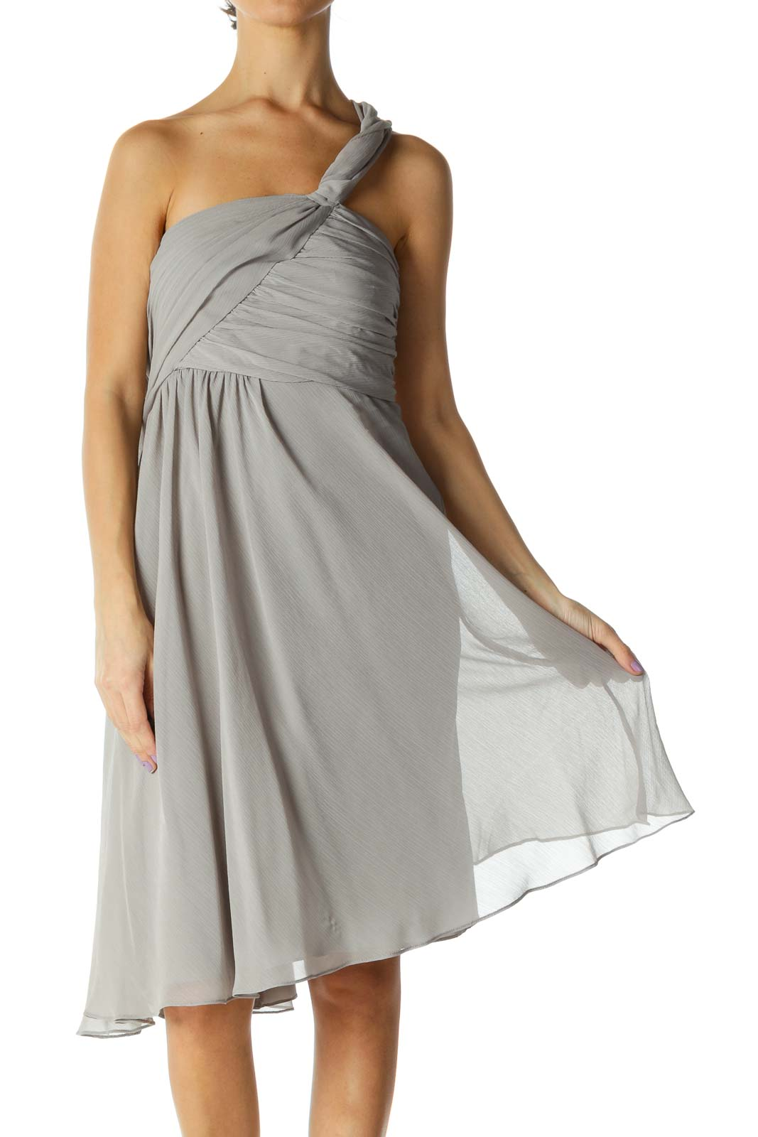 Gray Solid Cocktail A-Line Dress Front
