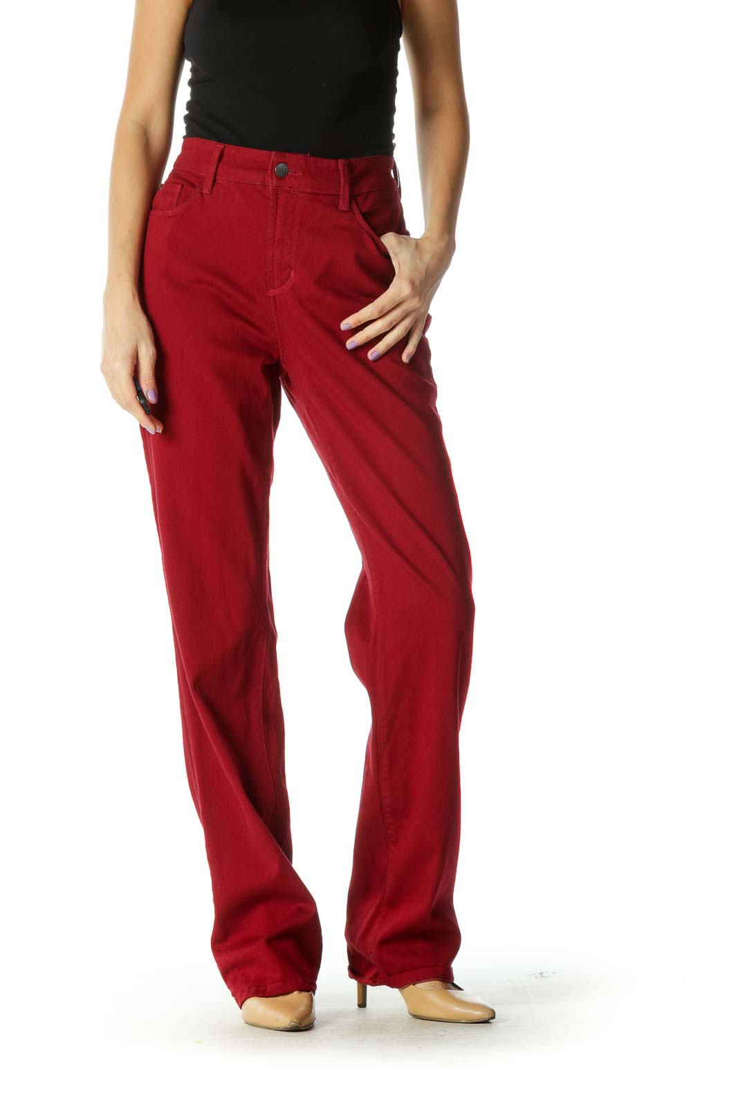 Red Solid Casual Trouser Front
