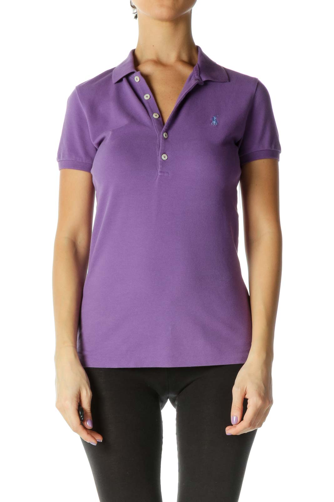 Purple Solid Casual Polo Shirt Front