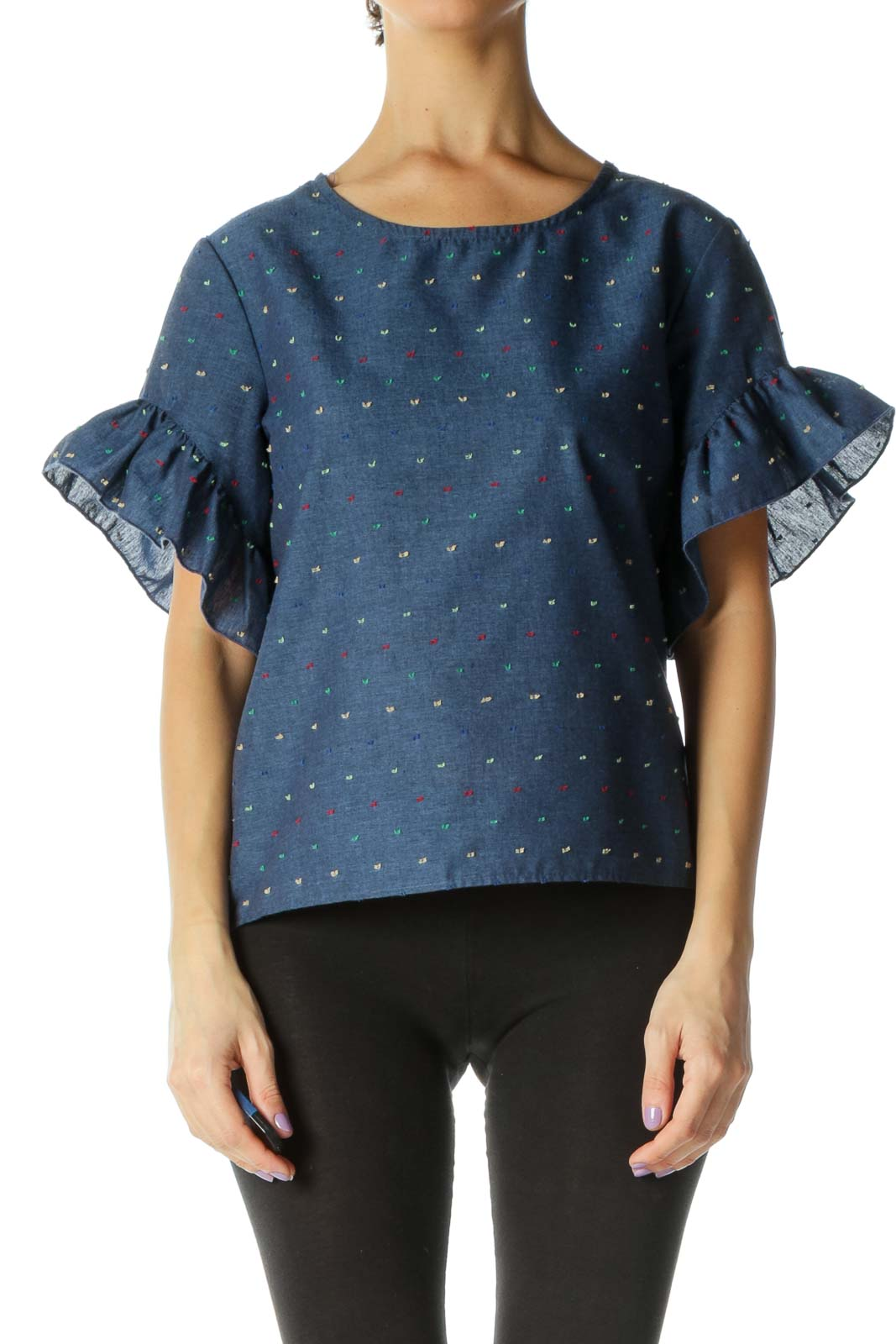 Blue Casual Blouse Front