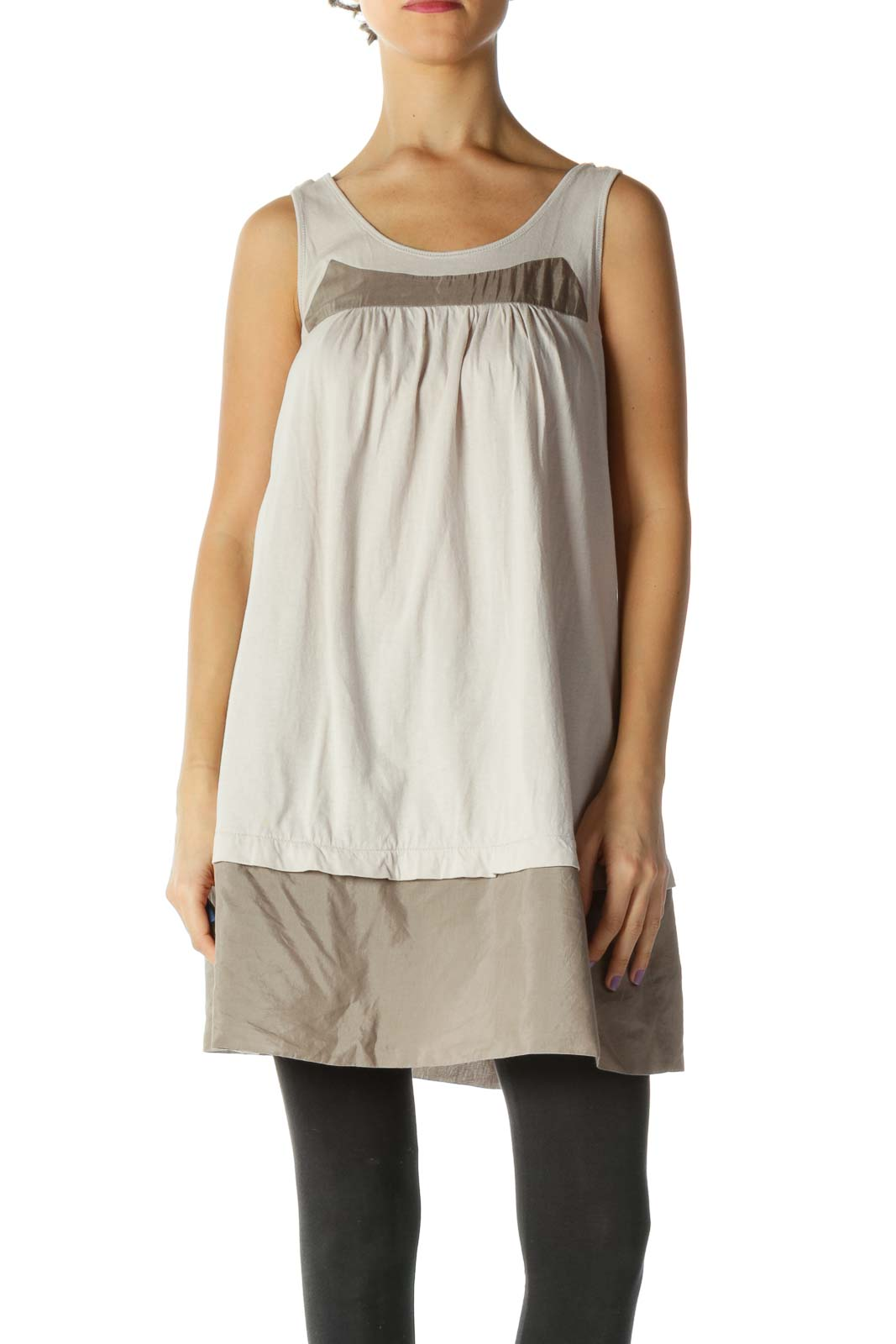 Beige Color Block Casual Tunic Front