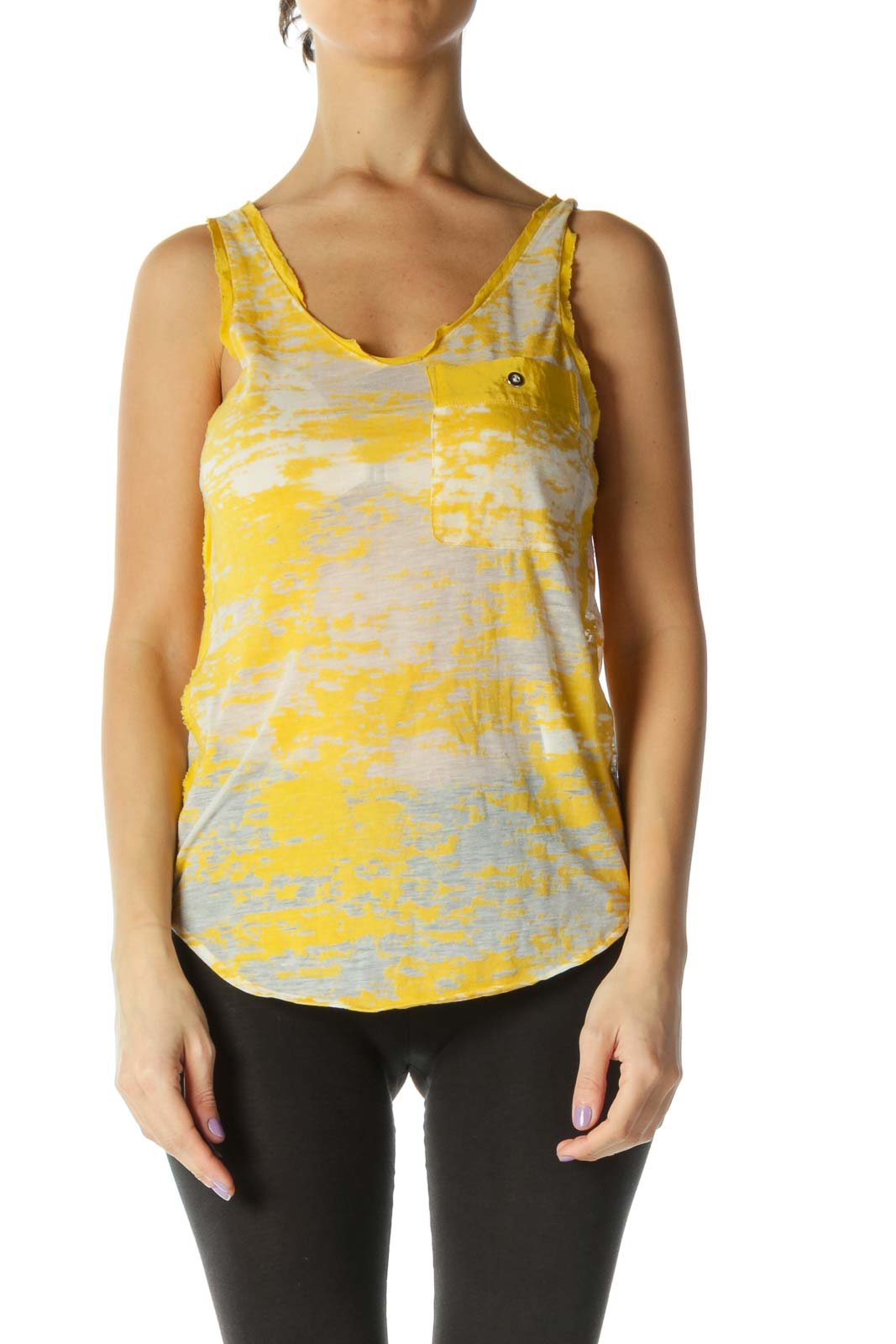 Yellow Casual Tank Top Front
