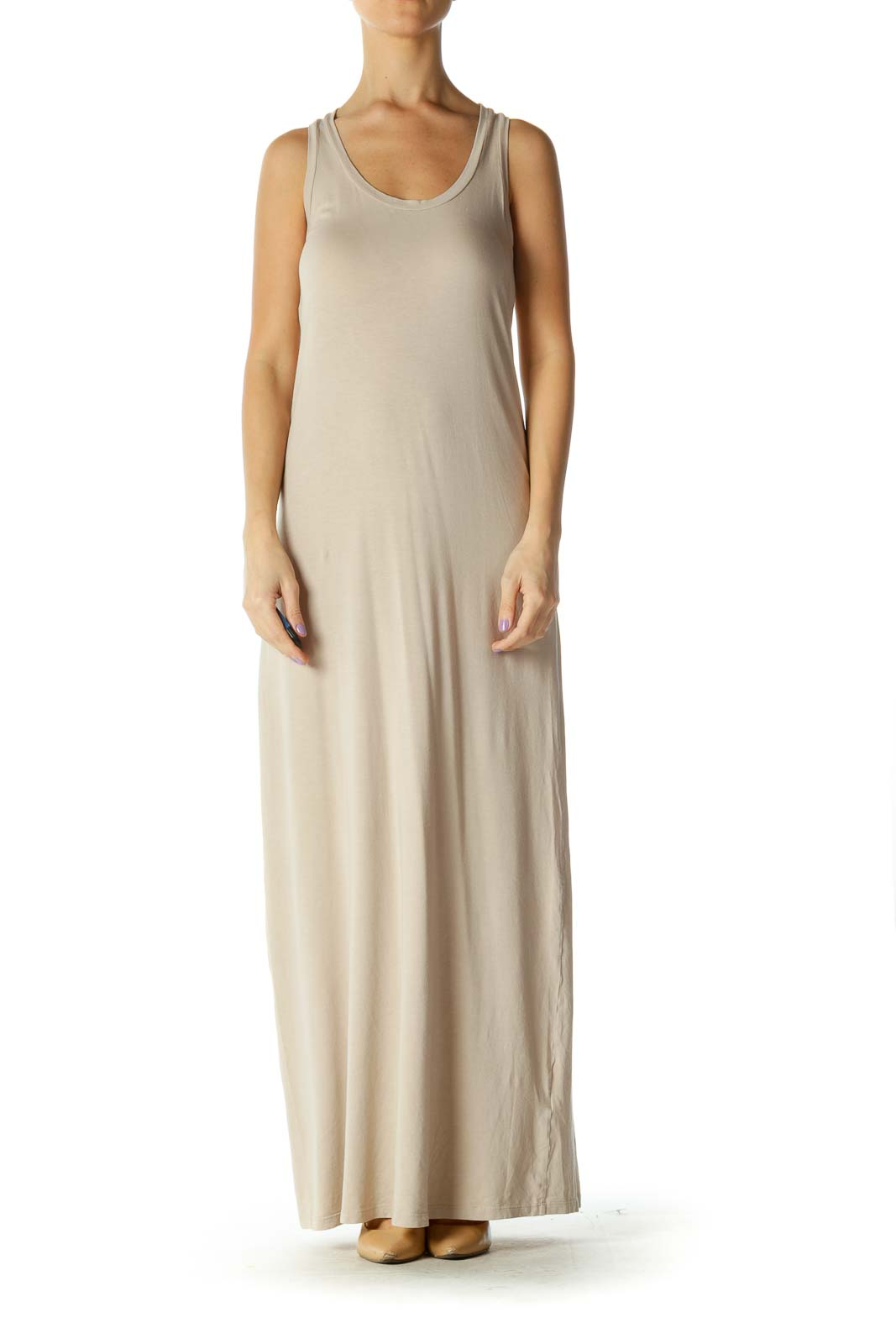 Beige Solid Casual Column Dress Front