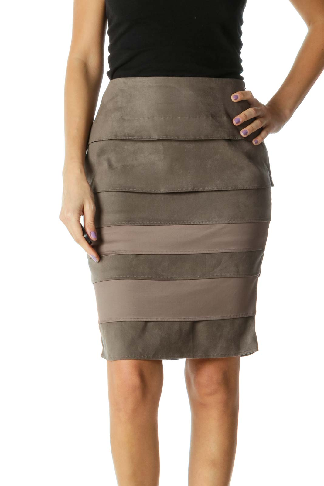 Brown Colorblock Classic Pencil Skirt Front